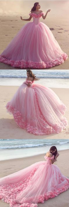 blush pink wedding dresses,flower wedding dress,ball gowns wedding dress,sweet 16 dress,pink quinceanera dresses