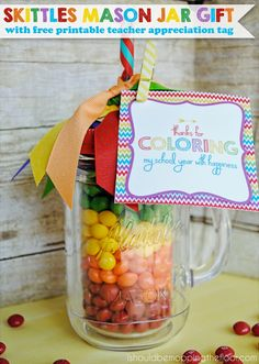 Skittles Mason Jar Gift Craft | Perfect for Teacher Appreciation Week gifts | Free matching printable included.