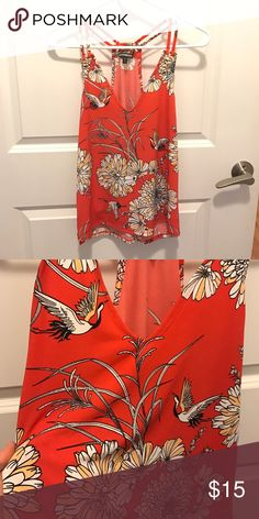 NWOT Orange Red Top! Gorgeous color and detail! Brought this on vacation and never got a chance to wear it! Perfect condition! Looks great with black or white jeans! Express Tops Tank Tops