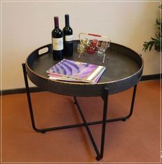 Couchtisch Tablett Tisch Rund Metall Vintage Industrie Design Grau Kupfer NEU