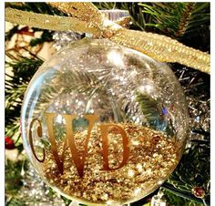 Monogram glitter ornament