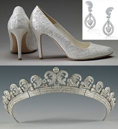 Shoes,earringsand tiara worn by the Duchess of Cambridge Kate Middleton on her wedding day