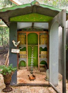 Interior designer Penelope Bianchi's Bali-inspired chicken coop. As gorgeous as her Mille Fleur bantams. Santa Barbara, California.