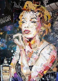 Blond Smart Baby (Marilyn Monroe) collage on canvas - 100 x 140 cm Ines Kouidis…