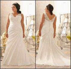 Straps pleated bodice mermaid plus size wedding dress with buttons back US $255.00