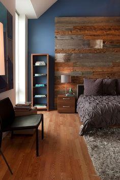 Modern Master Bedroom with Peel and Stick Reclaimed Wood, High ceiling, Built-in bookshelf, Hardwood floors