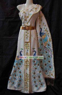 Traditional Thai Wedding Peacock Dress Complete Set 5d23d11e5