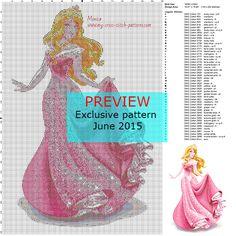 Exclusive cross stitch pattern June 2015 Disney Princess Aurora. FREE DOWNLOAD HERE: http://forums.my-cross-stitch-patterns.com/exclusive-pattern-june-2015-princess-aurora-t324.html