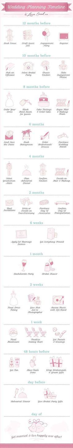 Lauren Conrad created this super easy visual breakdown of the wedding planning timeline. If you need the details explained as simple as possible, this is what you want to keep by your side.