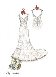 Anniversary Gift - Wedding dress sketch with small back detail and bouquet. Sketch by Catie Stricker-Howell Wedding Dress Sketches, Wedding Dress Styles, Best Gift For Wife, Casual Grooms, Wedding Painting, Weeding Dress, Fashion Art, Fashion Design, Dress Fashion