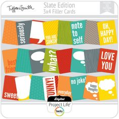 Slate Edition 3x4 Filler Cards   digitalprojectlife - happy and colorful, just like Disney