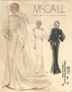 vintage 1930s British bridal sewing patterns | McCall Dress Patterns. Look at the price of the pattern! .65 cents!