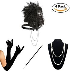 9d717cc3a 1920 Accessories Set – KQueenStar Flapper Costume Fancy Dress Gastby  Accessories Vintage Feather Headband,Long Gloves,Pearl Necklace,Black Cigarette  Holder ...