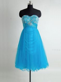affordable sweetheart sky blue tea length prom dress with rhinestone | Cheap prom dresses Sale