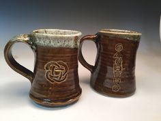 Pair of Stoneware Mugs in Amber Brown Drip Glaze by MudPiePotteryShop on Etsy
