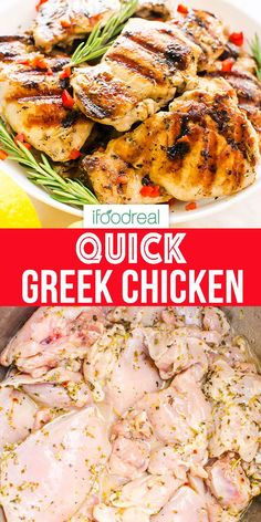 Greek Chicken – Only 30 Minutes to Marinate So quick! Greek Chicken infused with 30 minute marinade of oregano, lemon and garlic. Then bake, grill or fry for the best Greek chicken breast or thighs recipe ever! Greek Chicken Breast, Greek Chicken Kabobs, Baked Greek Chicken, Greek Chicken Recipes, Baked Chicken Breast, Greek Recipes, Healthy Chicken Recipes, Lunch Recipes, Healthy Dinner Recipes