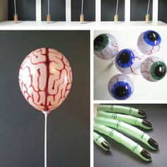 Using this idea for my sons zombie bday party. Couldn't find balloons relating to the zombie theme so I'm going to make them. Much cheaper too!! :) http://paperplateandplane.wordpress.com/2010/10/22/halloween-balloon-body-parts/