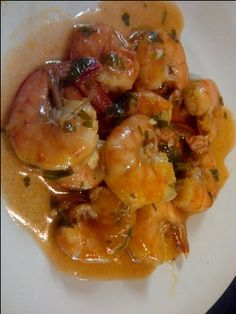 Portuguese Spicy Shrimp- This is a family favorite. We serve it with a plain white rice that will absorb the delicious sauce. Sometimes we decorate the platter with whole boiled eggs. Spicy Shrimp Recipes, Fish Recipes, Seafood Recipes, Great Recipes, Cooking Recipes, Favorite Recipes, Healthy Recipes, Sauce Recipes, Appetizers