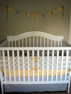 love the grey and yellow, and the white crib