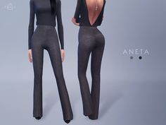 Flared Pants - ANETA (Theory)DOWNLOADI'm really happy with how this turned out. Featuring high waist, slim fit and a kick flare, these pants will give your sim a long legged look.Top - inabadromance / Necklace - NataliS