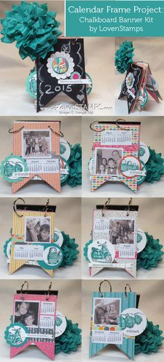 Chalkboard Banner Kit from Stampin' Up! - use it to create your own 2015 calendar photo frame. Project and video tutorial by LovenStamps
