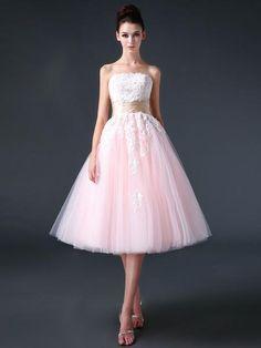 Retro 50s Strapless Pink Tea Length Prom Dress Evening Dress | CS3006
