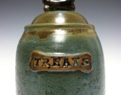 This would look amazing out on a counter since it's such a beautiful piece of art/pottery!   handmade dog treat jar, cookie jar, ceramic jar, personalized, lidded jar