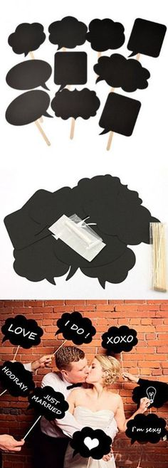 IBuy365 Set of 10pcs DIY Photo Booth Signs Photobooth Props Speech Bubbles on a stick for Wedding or Engagement or bridal shower party decoration
