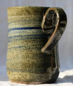 Pottery Mug, Stoneware clay,hi fired, cobalt blue and white slip decorated , Microwave and Dishwasher-safe, Wheel-thrown by FireonClay on Etsy White Slip, Stoneware Mugs, Pottery Mugs, Cobalt Blue, Microwave, Dishwasher, Blue And White, Fire, Unique Jewelry