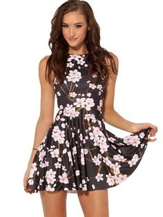 Black Sleeveless Flower Pattern Ruffle Dress - Fashion Clothing, Latest Street Fashion At Abaday.com