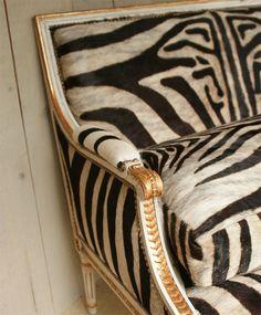 Louis XVI zebra settee❖ Donna Parker Habitat, Ltd. Antiques~via 1st Dibs