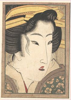 Head of a Beauty  Keisai Eisen  (Japanese, 1790–1848)  Period: Edo period (1615–1868) Date: ca. 1825 Culture: Japan Medium: Polychrome woodblock print; ink and color on paper