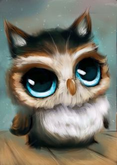 Puff puff  Painted on iPad. Painting big owly eyes and puffy fluff is so fun