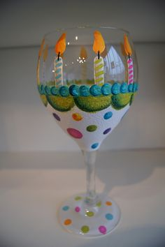 Happy Birthday ~ hand painted wine glass.  This is too cute!  Make a Cake Plate to match!