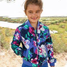 Cherokee Girls Statement Flower Print Quilted Fashion Jacket