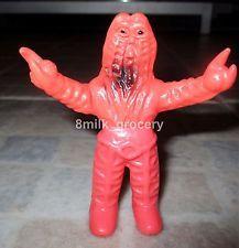 """Vintage 70s Bullmark ULTRAMAN Kaiju Alien Godola 4"""" Vinyl Sofubi Monster - Red"""