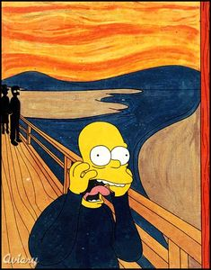 """Edvard Munch's expressionist painting """"The Scream"""" is one of the most recognizable works of art today. Famous Art Paintings, Famous Artwork, Famous Pop Art Artists, Homer Simpson, Le Cri Edvard Munch, Scream Parody, Art Jaune, Simpsons Art, Yellow Art"""