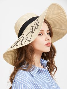 Beige Sequin Letter Wide Brim Straw Hat Gafas De Sol bc318edca98