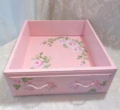 SHABBY DRAWER DECOR BIN SHELF hp roses chic vintage cottage hand painted pink #VINTAGE #SHABBYCHICROMANCE
