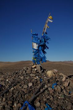 This is an ovoo, a pile of rocks on which you make an offer to the gods for good fortune