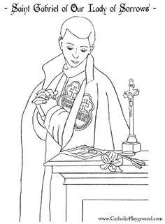Saint Gabriel of Our Lady of Sorrows  coloring page, Feast day is Feb 27th