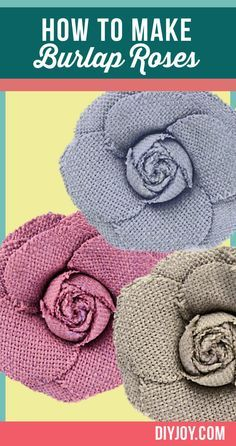 Learn how to make burlap roses in this easy tutorial. These fabric flowers go with DIY room decor, add them to DIY projects or give them as a homemade gift. Burlap Projects, Burlap Crafts, Decor Crafts, Fabric Crafts, Sewing Projects, Craft Projects, Burlap Decorations, Diy Crafts, Burlap Flowers