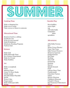 Endless Crafting: New Summer To Do List. Perfect for nannying