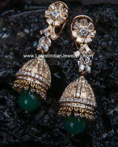 Enchanting diamond jhumka earrings inspired by jadau jewellery looks captivating. The emerald drop long diamond jhumkas with screw opening along with clip Gold Jewelry, Diamond Jewellery, Diamond Jhumkas, Diamond Pendant, Jewelry Findings, Jewelry Box, Diamond Earrings, Fine Jewelry, Indian Jewelry Sets
