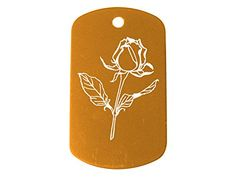 Rose Flower Dark Gold Dog Tag Military ID K9 Custom Laser Engraved By Ndz Performance ** You can find out more details at the link of the image. (Note:Amazon affiliate link)