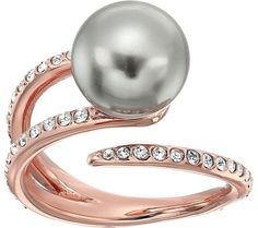 Michael Kors Pearl Tone Pave Crystal and Grey Pearl Open Ring