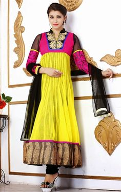 Picture of Flamboyant Multi Color Fashion Designer Salwar Kameez