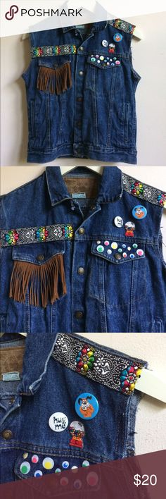 "denim vest embellished denim vest with chest pockets, side pockets & adjustable sides. length: 20"" bust: 17"" lying flat from seam to seam. best fit small, xs if worn closed. Jackets & Coats Vests"