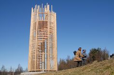 2015 Forest View by Ståle Sørensen The sculpture is situated at Valle Hovin footballground in Oslo. The sculpture function as a observation tower. Forest View is made in oakwood. Inside there is a spiral-shaped staircase made in plywood.