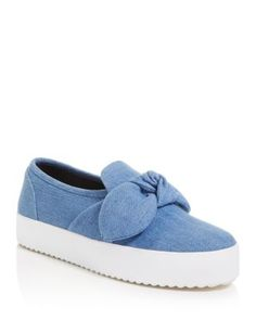 Out of the blue: Rebecca Minkoff shapes sweet platform sneakers in true-blue denim for on-trend, off-duty appeal. | Textile upper, textile lining, rubber sole | Imported | Fits true to size, order you